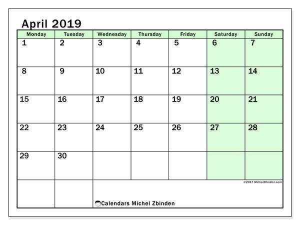 April 2019 Calendar, 60MS. Free printable planner.
