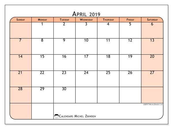 Calendar  April 2019, 61SS