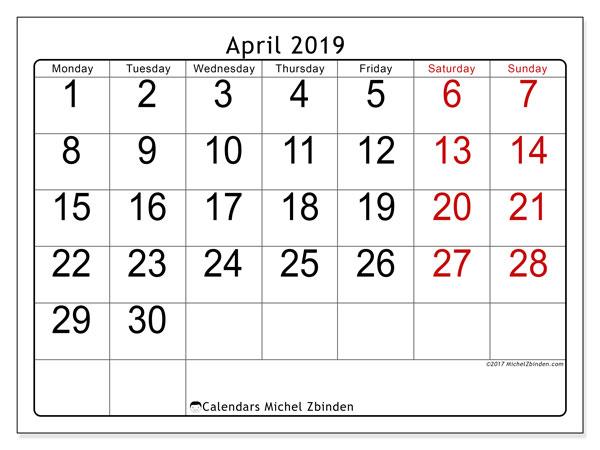 Printable Calendars 2019 Ms Michel Zbinden En