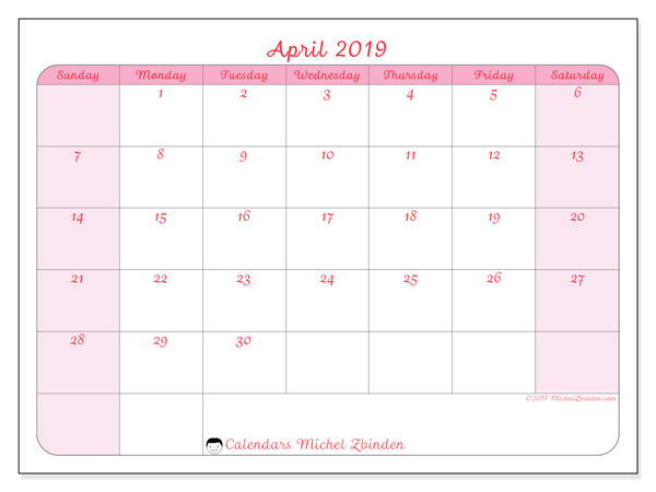 April 2019 Calendar 63ss Michel Zbinden En