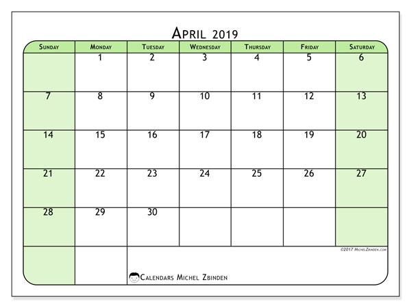 Calendar  April 2019, 65SS