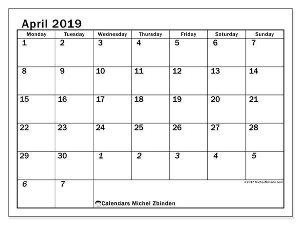 April 2019 Calendar, 66MS. Free planner to print.