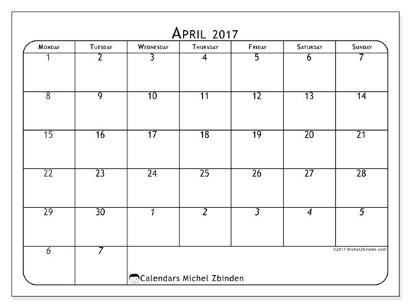 Calendar  April 2019, 67MS