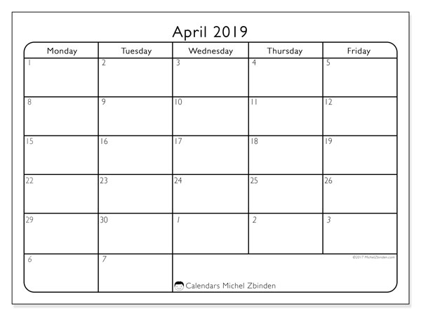 April 2019 Calendar, 74MF. Free bullet journal to print.