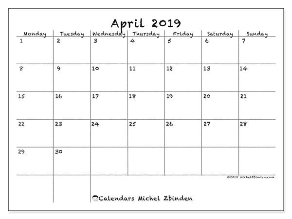 Calendar  April 2019, 77MS