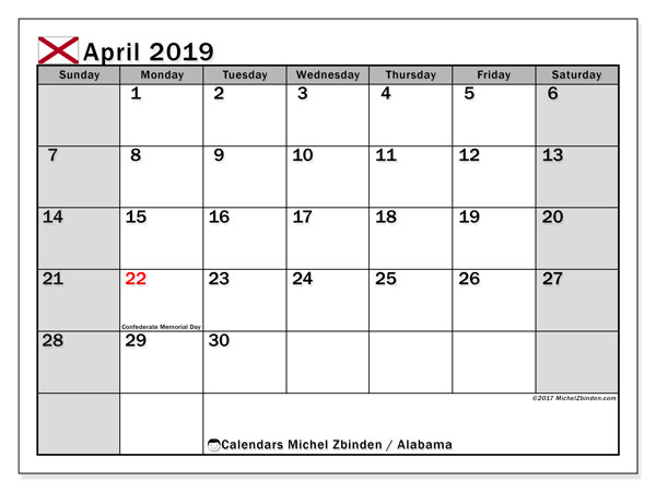 Calendar April 2019 - Alabama