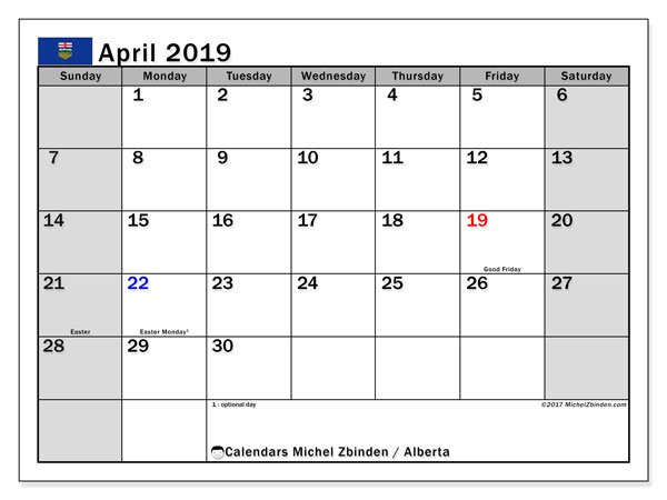 Calendar April 2019, with the holidays of Alberta. Free printable bullet journal.
