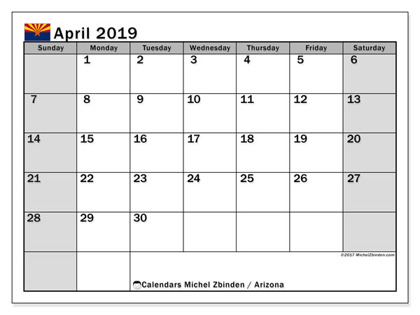 Calendar April 2019 - Arizona