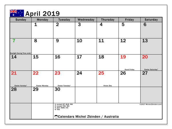 Calendar April 2019, with the holidays of Australia. Free printable planner.