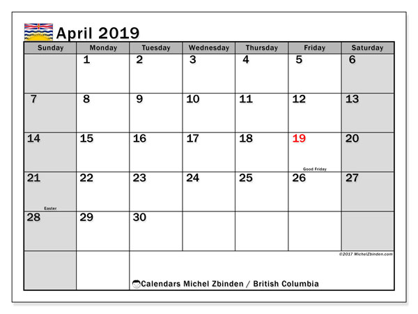 Calendar April 2019, with the holidays of British Columbia. Planner to print free.
