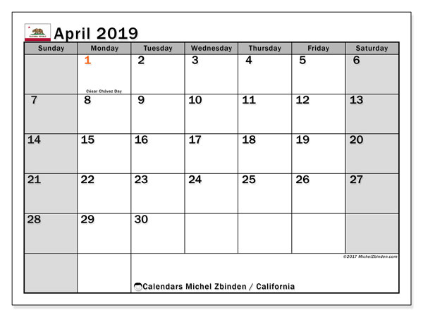 April 2019 Calendar, with the holidays of California. Holidays calendar to print free.