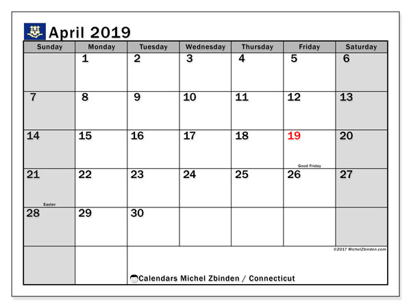 Calendar April 2019 - Connecticut