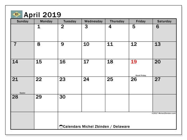 April 2019 Calendar, with the holidays of Delaware. Holidays calendar to print free.