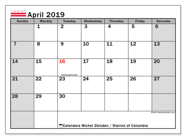 April 2019 Calendar, with the District of Columbia holidays. Free printable calendar with public holidays.