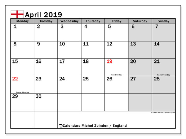 Calendar April 2019, with the holidays of England. Planner to print free.