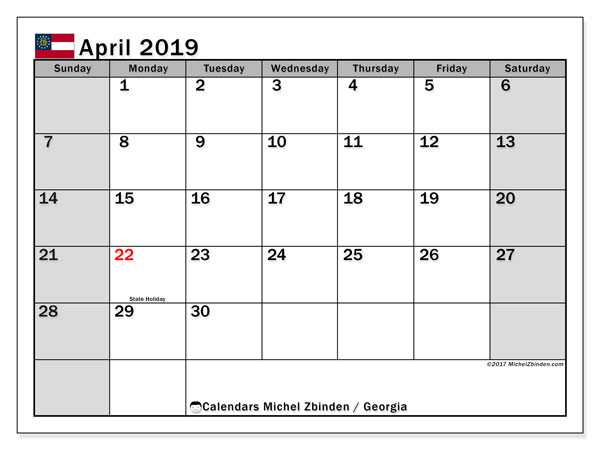 April 2019 Calendar, with the holidays of Georgia. Free printable calendar with public holidays.