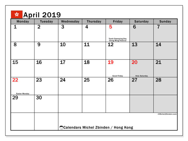 April 2019 Calendar, with the holidays of Hong Kong. Free printable calendar with public holidays.
