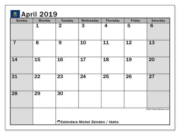 April 2019 Calendar, with the holidays of Idaho. Holidays calendar to print free.