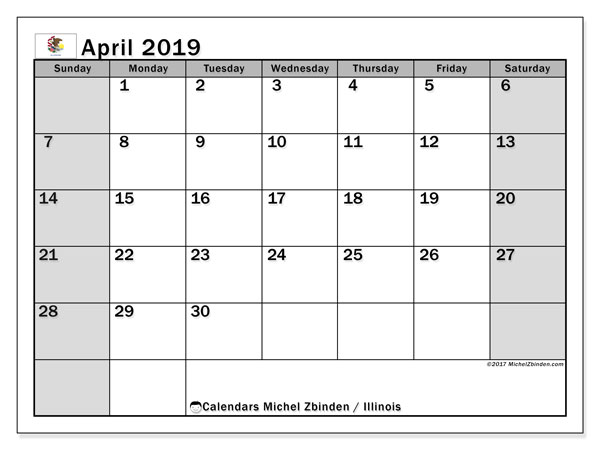 Calendar April 2019 - Illinois