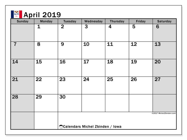 April 2019 Calendar, with the holidays of Iowa. Free printable calendar with public holidays.