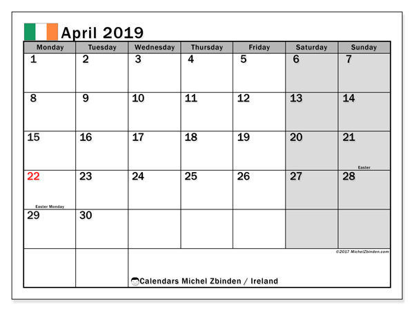 Calendar April 2019, with the holidays of Ireland. Free printable bullet journal.