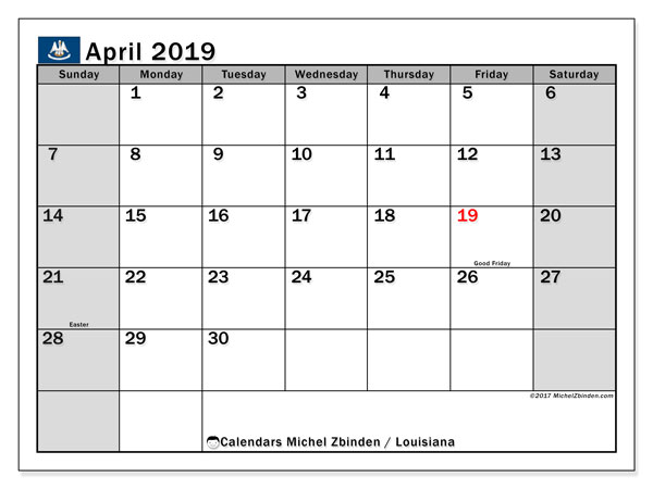 Calendar April 2019 - Louisiana