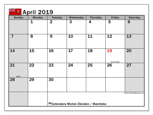 Calendar April 2019, with the holidays of Manitoba. Free bullet journal to print.