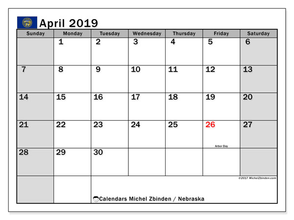 April 2019 Calendar, with the holidays of Nebraska. Free printable calendar with public holidays.