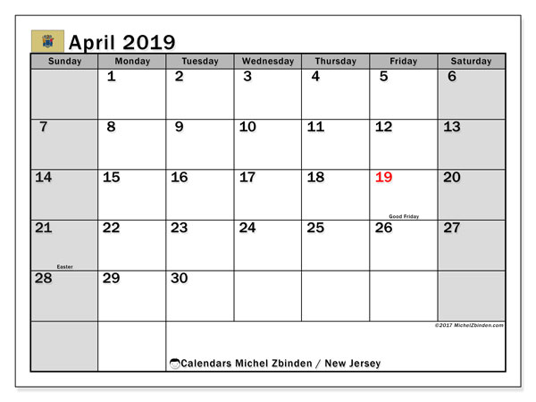 April 2019 Calendar, with the holidays of New Jersey. Free printable calendar with public holidays.