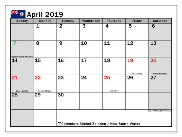 Calendar April 2019, with the holidays of New South Wales. Free printable monthly calendar.