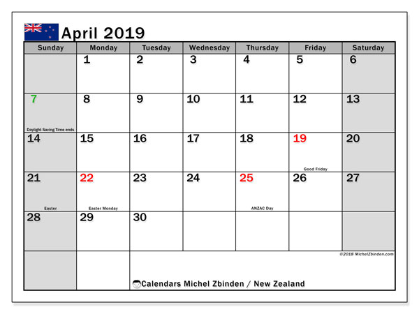Calendar April 2019, with the holidays of New Zealand. Calendar for the month to print free.