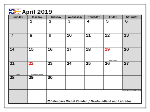 Calendar April 2019, with the holidays of Newfoundland and Labrador. Bullet journal to print free.