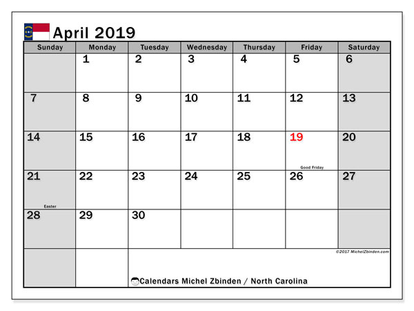 Calendar April 2019 - North Carolina