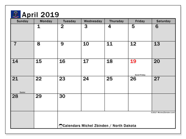 Calendar April 2019 - North Dakota