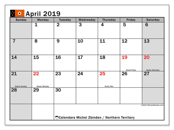 Calendar Northern Territory, April 2019