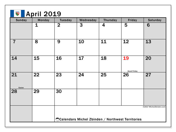 Calendar April 2019, with the holidays of Northwest Territories. Calendar for the month to print free.