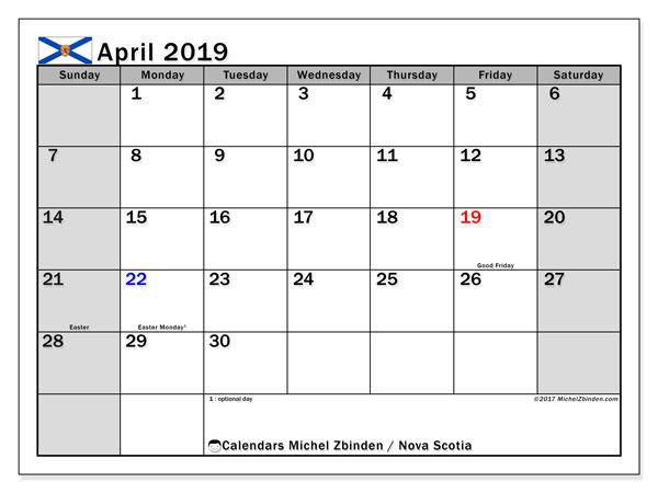 Calendar April 2019, with the holidays of Nova Scotia. Planner to print free.