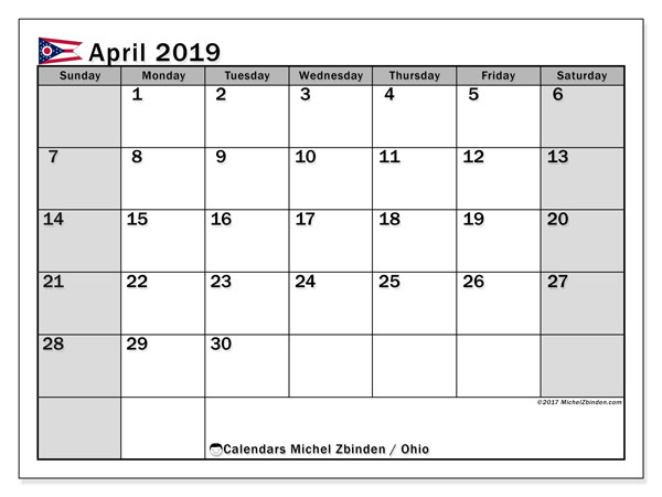 April 2019 Calendar, with the holidays of Ohio. Free printable calendar with public holidays.