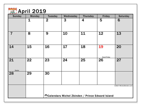 Calendar April 2019, with the holidays of Prince Edward Island. Bullet journal to print free.