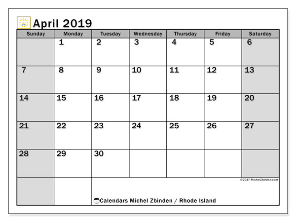 April 2019 Calendar, with the holidays of Rhode Island. Free printable calendar with public holidays.