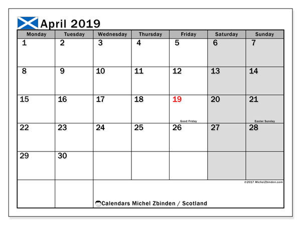 Calendar April 2019, with the holidays of Scotland. Free calendar to print.