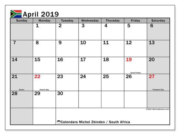 April 2019 Calendar South Africa Michel Zbinden En