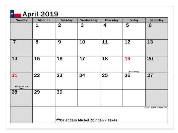 April 2019 Calendar, with the holidays of Texas. Holidays calendar to print free.