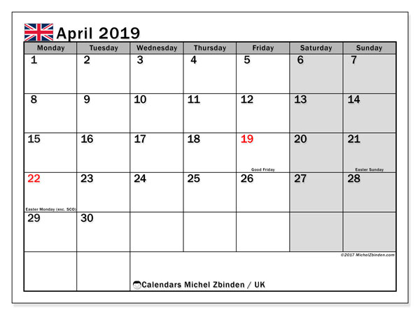 April 2019 Calendar Uk Michel Zbinden En