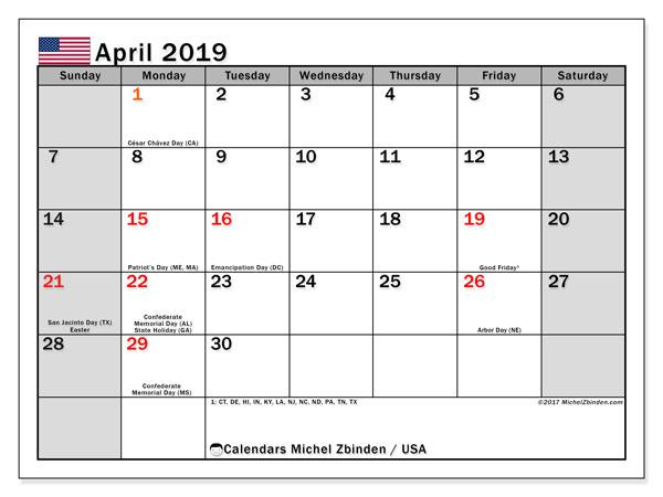 Calendar  April 2019, usa