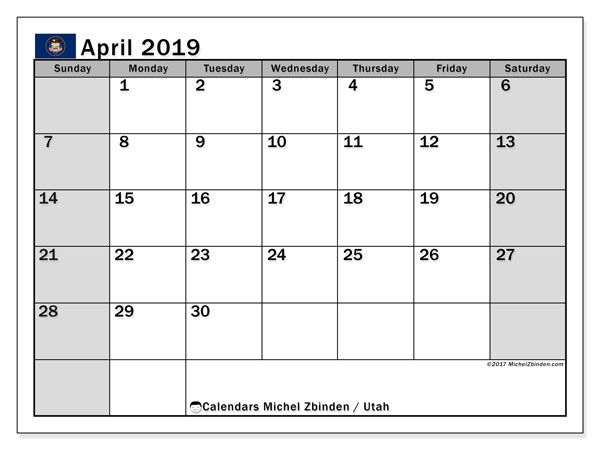 April 2019 Calendar, with the holidays of Utah. Free printable calendar with public holidays.