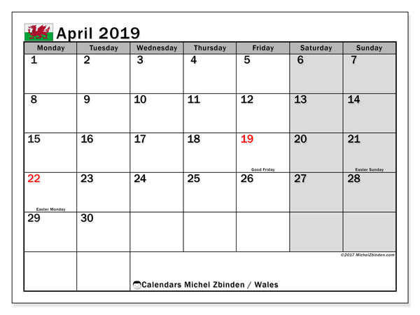 Calendar April 2019, with the holidays of Wales. Monthly calendar to print free.