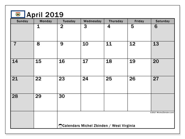 Calendar April 2019 - West Virginia