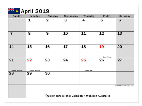 Calendar April 2019, with the holidays of Western Australia. Bullet journal to print free.