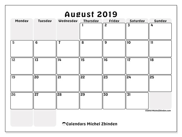 August 2019 Calendar, 44MS. Monthly planner to print free.